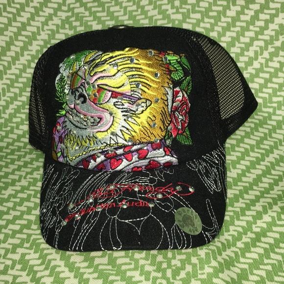 52ae98b4d75 NWT Black blinged out ed hardy trucker hat